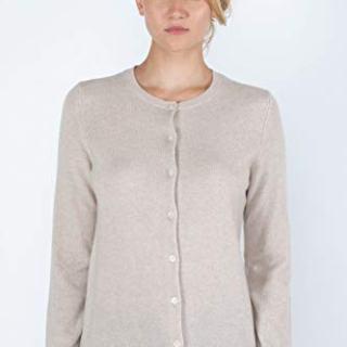 JENNIE LIU Women's 100% Cashmere Button Front Long Sleeve