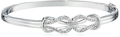 Sterling Silver Diamond Double Knot Bangle Bracelet