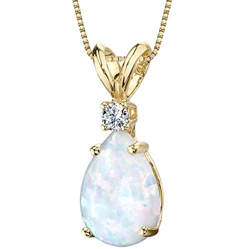 14 Karat Yellow Gold Pear Shape Created Opal Diamond