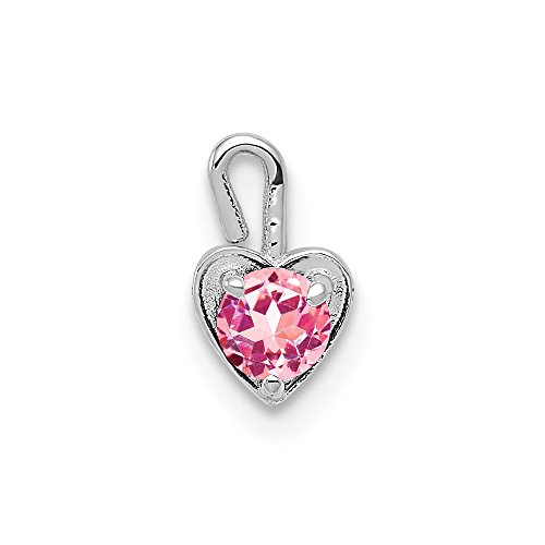 14k White Gold October Synthetic Birthstone Heart Pendant Charm Necklace