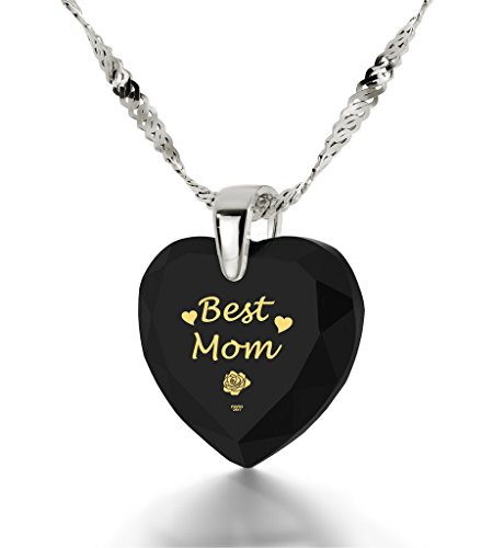 Silver Best Mom Necklace - Heart Pendant Inscribed