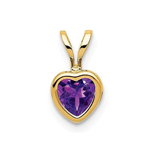 14k Yellow Gold 5mm Heart Purple Amethyst Bezel Pendant