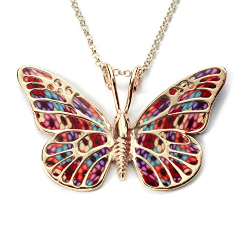 Gold Plated Sterling Silver Butterfly Necklace Pendant Multi-Colored Polymer Clay