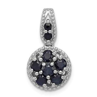 925 Sterling Silver Sapphire Circle Pendant Charm Necklace