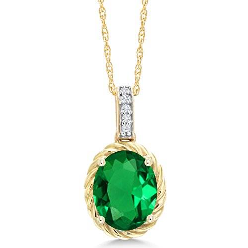 Gem Stone King 1.54 Ct Oval Green Simulated Emerald White Diamond