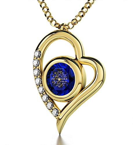 Nano Jewelry Gold Plated Heart Pendant Necklace I Love You 12 Languages