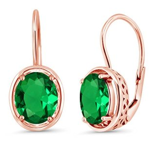 Gem Stone King 3.00 Ct Oval Green Simulated Emerald 18K Rose Gold