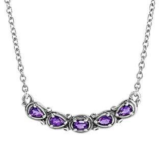 Carolyn Pollack Sterling Silver Purple Amethyst Gemstone 5 Stone Necklace