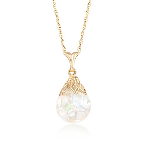 Ross-Simons Floating Opal Pendant Necklace in 14kt Yellow Gold