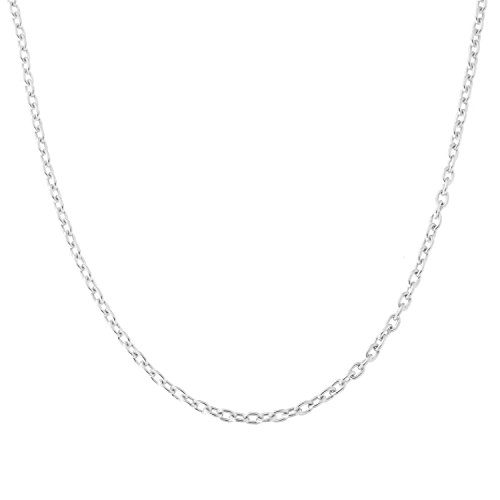 Beauniq 18k White Gold 1.5mm Cable Chain Necklace