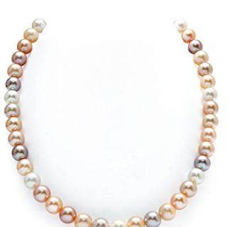 THE PEARL SOURCE 14K Gold 9-10mm AAAA Quality Multicolor Freshwater
