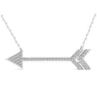 IGI CERTIFIED 1/8ct Diamond Arrow Necklace, Diamond Pendant for Women