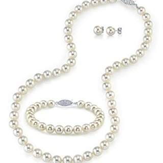 THE PEARL SOURCE 14K Gold 7-7.5mm AAA Quality Round White Akoya