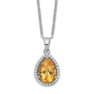 Sterling Silver Yellow Citrine Cubic Zirconia Cz Chain Necklace Set