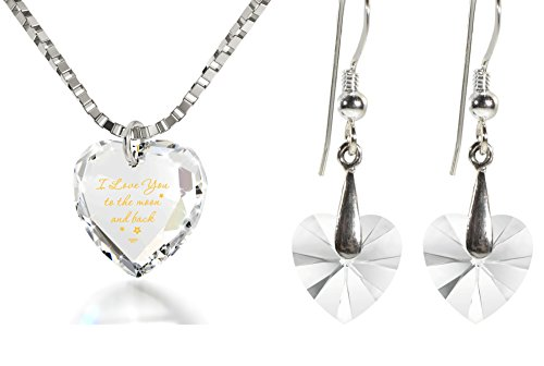 Crystal Tiny Heart Jewelry Set I Love You to The Moon and Back Necklace