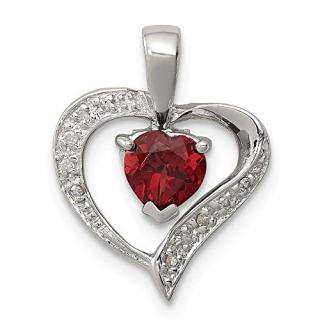 925 Sterling Silver Heart Red Garnet Diamond Pendant Charm Necklace
