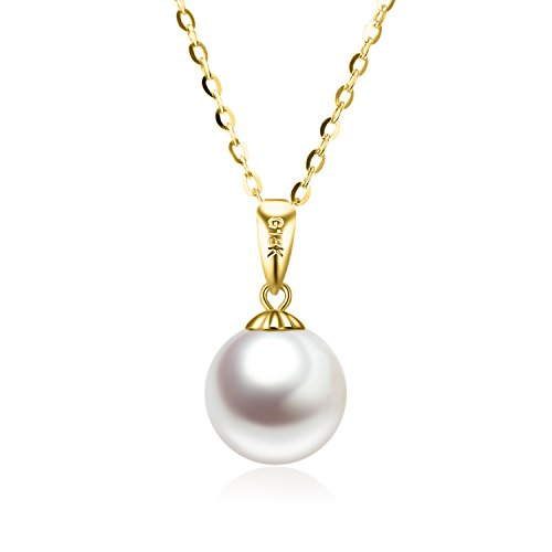 SISGEM 14K Gold Pearl Necklaces for Women, Yellow Gold Pearl Pendant