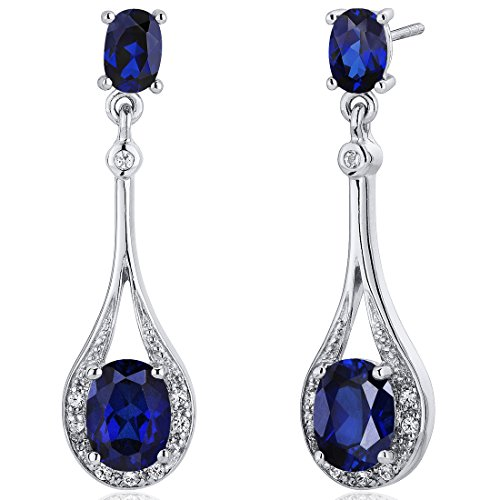 Created Blue Sapphire Dangle Earrings Sterling Silver