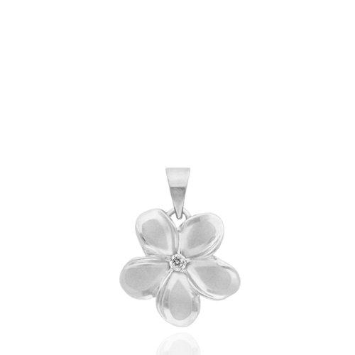 Plumeria Necklace Pendant with Diamond in 14K White Gold-15mm