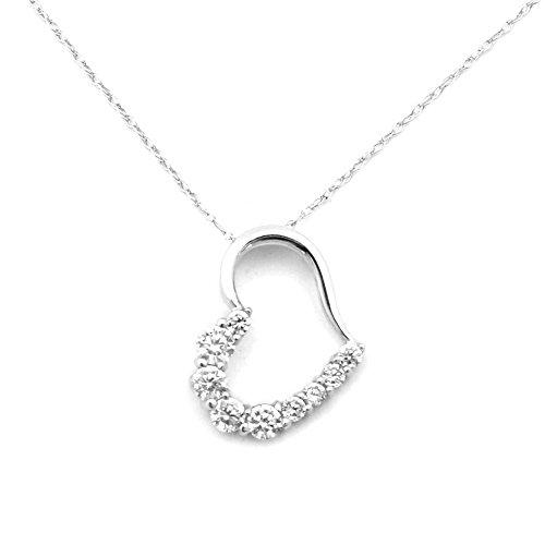 Beauniq 14k White Gold Medium Cubic Zirconia Open Heart Pendant