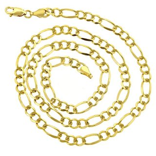 10K Yellow Gold Solid Figaro Chain 5mm Diamond Cut Link Necklace