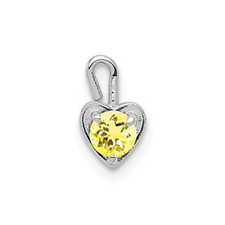 14k White Gold November Synthetic Birthstone Heart Pendant Charm Necklace