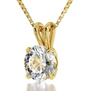 Nano Jewelry 14k Yellow Gold I Love You Necklace Solitaire Pendant