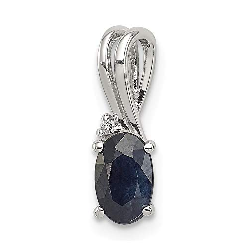 Sterling Silver Diamond Sapphire Oval Pendant Charm Necklace