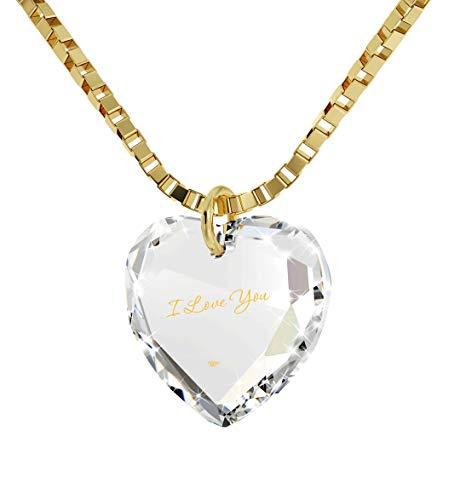 Nano Jewelry Tiny Heart Pendant I Love You Necklace 24k Gold