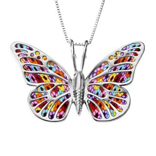 Sterling Silver Butterfly Necklace Pendant Multi-Colored Polymer Clay