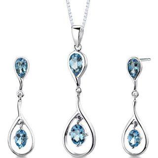 Swiss Blue Topaz Pendant Earrings Necklace Sterling Silver