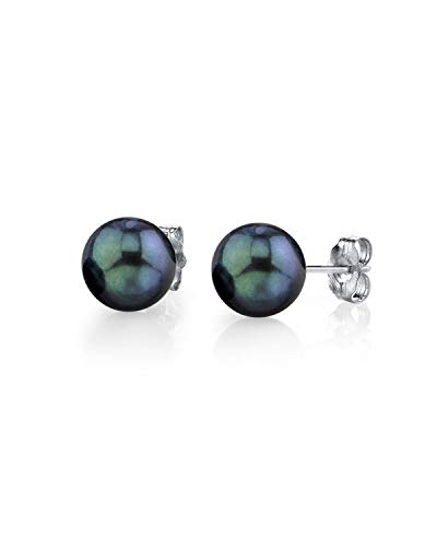 THE PEARL SOURCE 14K Gold 6.5-7mm Round Black Cultured Akoya Stud Pearl