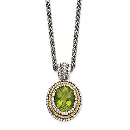 Sterling Silver 14k Green Peridot Chain Necklace Pendant Charm