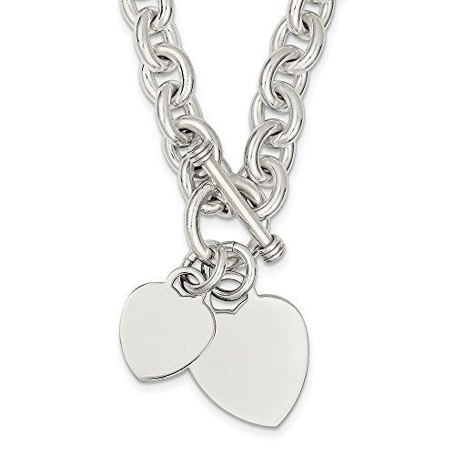 Sterling Silver Engraveable Heart Disc On Link Toggle Chain Necklace