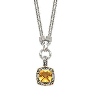 925 Sterling Silver 14k Yellow Citrine Diamond Chain Necklace