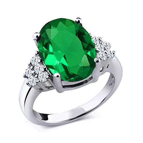 Gem Stone King Sterling Silver Green Simulated Emerald