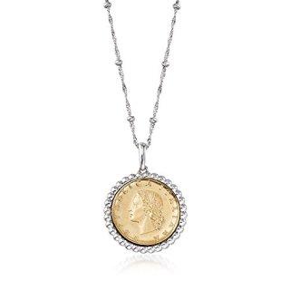 Ross-Simons Italian Genuine 20-Lira Coin Pendant Necklace