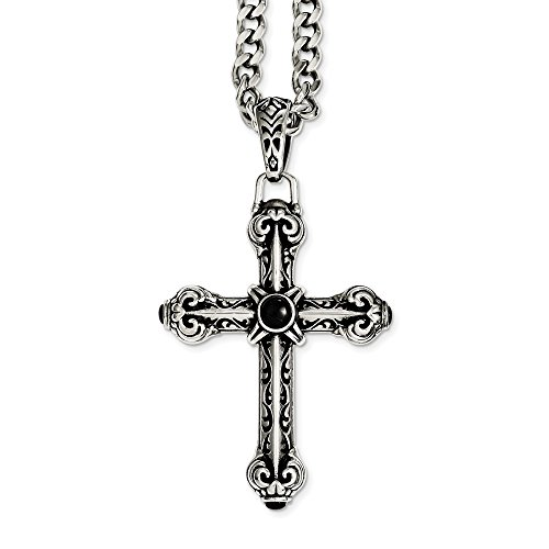 Stainless Steel Antiqued Cross w/Synthetic Black Agate