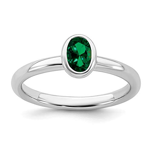 Sterling Silver Oval Created Green Emerald Band Ring Size
