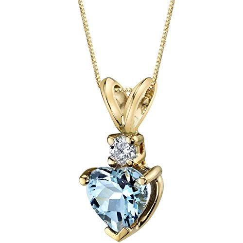 14 Karat Yellow Gold Heart Shape 0.75 Carats Aquamarine