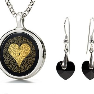 Sterling Silver I Love You Necklace in 120 Languages and Black Crystal