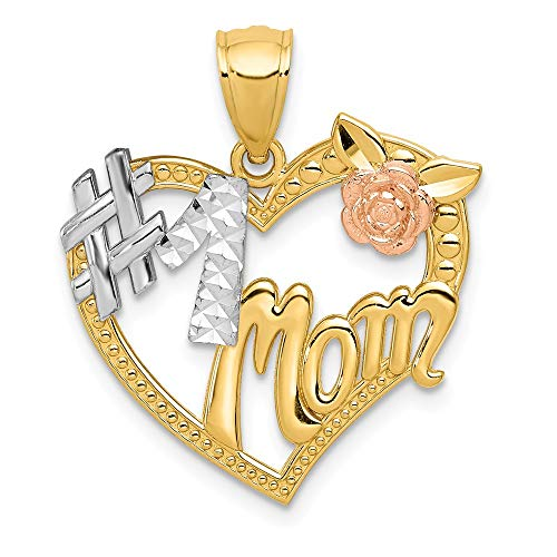 14k Two Tone Yellow Gold #1 Mom Heart Pendant Charm Necklace