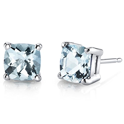 14 Karat White Gold Cushion Cut 1.50 Carats Aquamarine