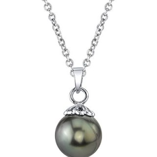 THE PEARL SOURCE 14K Gold 10-11mm Round Black Tahitian South Sea