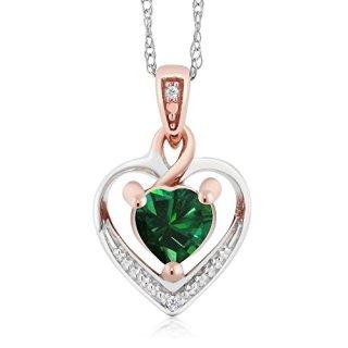 Gem Stone King 10K White and Rose Gold Green Nano Emerald