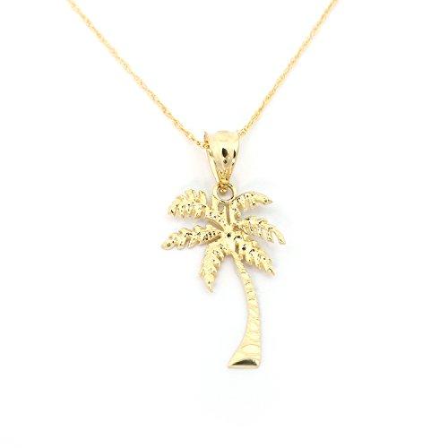 Beauniq 14k Yellow Gold Palm Tree Pendant Necklace