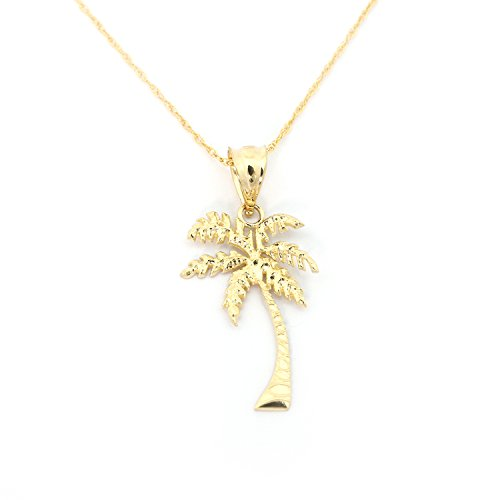 Beauniq 14k Yellow Gold Palm Tree Pendant Necklace