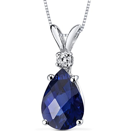 14 Karat White Gold Pear Shape 2.50 Carats Created Blue Sapphire