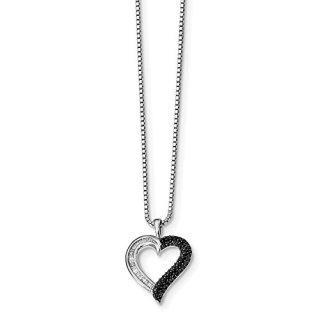 Sterling Silver Rhod Plated Black White Diamond Heart Pendant Chain