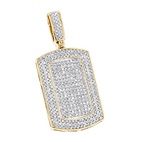 Luxurman Natural 0.9 Ctw Diamond Dog Tags 10K Iced Out Small Tag Pendant